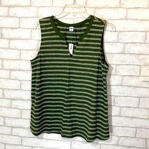Old navy linen blend stripe sleeveless top size M